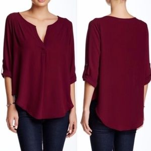 Lush | Burgundy Split Neck Button Sleeve Blouse XS